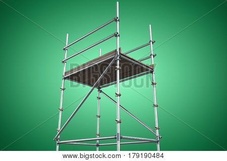 Three dimension image of scaffolding against green vignette