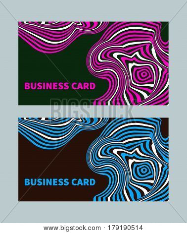Bright creative business card style opt art with distorted stripes. Template for flyers leaflets. Vector illustration.