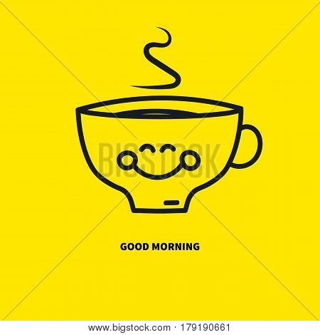 Happy smiling coffee cup tea with steam isolated on yellow. Icon emoticon good morning. Emoji pleasure joy. Vector illustration.