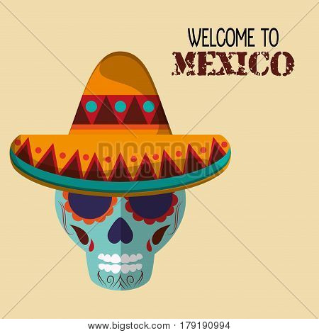 welcome to mexico travel greeting vector illustraiton eps 10
