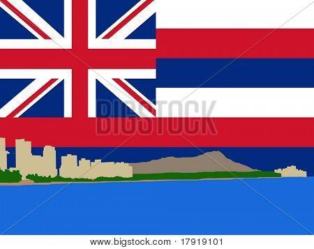 Waikiki Skyline and Diamond Head oahu Hawaii against Hawaiian Flag illustration