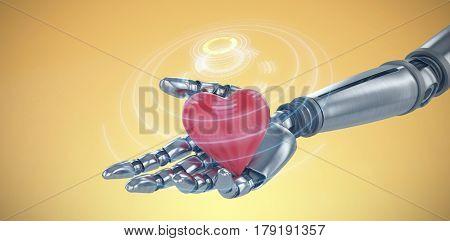 3d image of cyborg holding heard shape decoration against digital image of volume knob