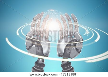Composite image of robotic hands against blue background against digitally generated image of illuminated volume knob 3d