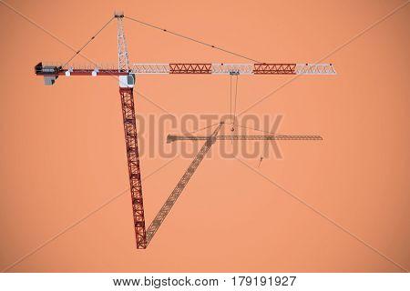 Studio Shoot of a crane against orange background