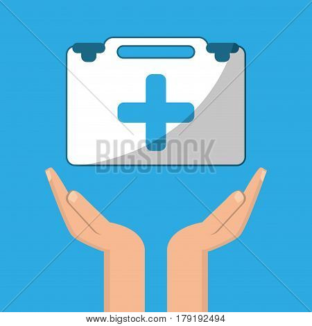 hands with kit first aid design assistance vector illustration eps 10