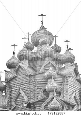 Wooden Church of the Intercession in the style of Russian wooden architecture in the Nevsky Forest Park near St. Petersburg Russia. Black and white.