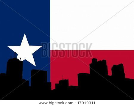 downtown Dallas skyline and Texan flag illustration
