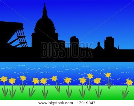 St Pauls and Millennium Bridge in springtime with daffodils in bloom