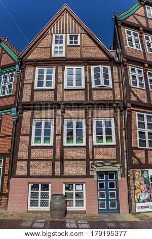 STADE, GERMANY - MARCH 27, 2017: Historical half timbered house in the city center of Stade