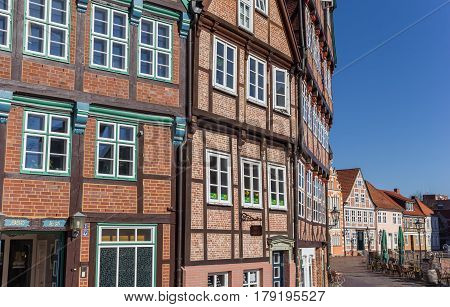 STADE, GERMANY - MARCH 27, 2017: Half timbered houses at the historical harbor of Stade, Germany
