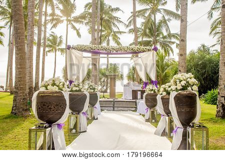 outdoor beach wedding setup in tropics
