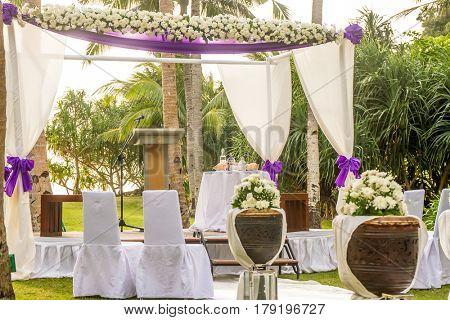 outdoor beach wedding setup in tropics