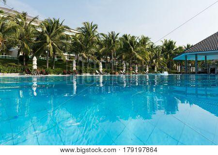 Swimming pool in the vacation resort in Mui Ne Vietnam