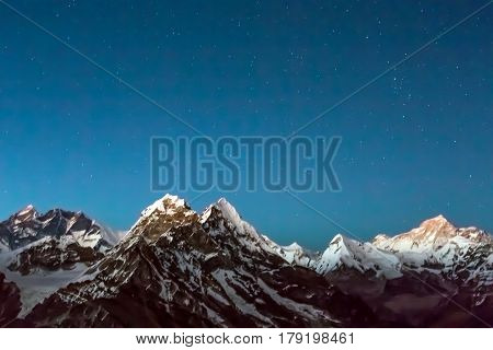 Night View of Mountain Landscape Glacier and Snow on foreground severe range of Summits and starry Sky for copy space on Background