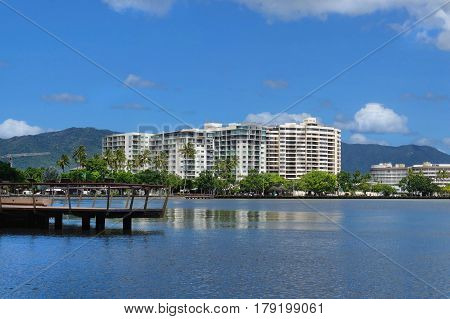 Cairns Australia water front view from the marina