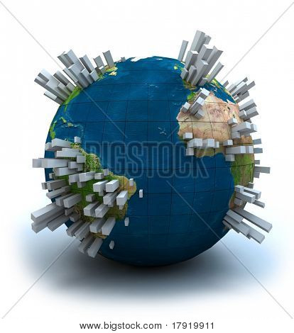 3D view of the Earth globe filled with lots of grey skyscrapers.