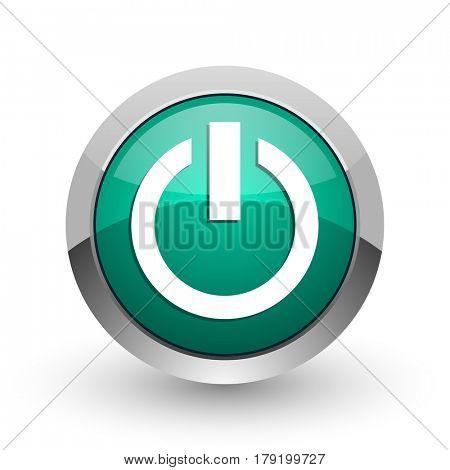 Power silver metallic chrome web design green round internet icon with shadow on white background.