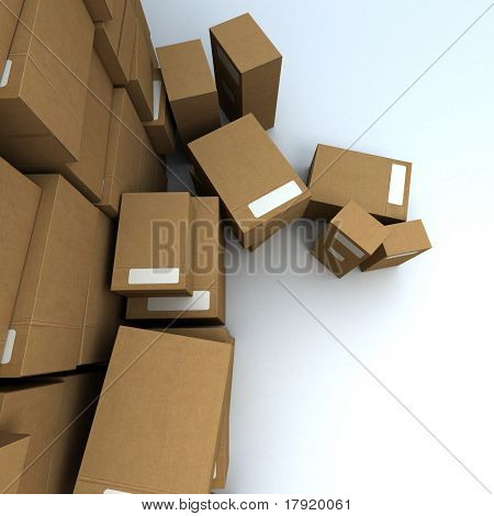 Vertiginous camera angle on a very high pile of parcels