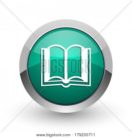 Book silver metallic chrome web design green round internet icon with shadow on white background.