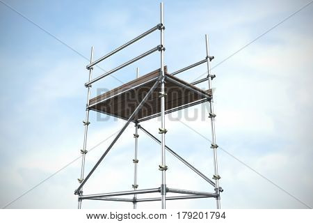 Three dimension image of scaffolding against blue sky with clouds 3d