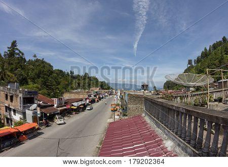 PARAPAT, NORTH SUMATRA, INDONESIA 09 MARCH 2012 : main street of Parapat city