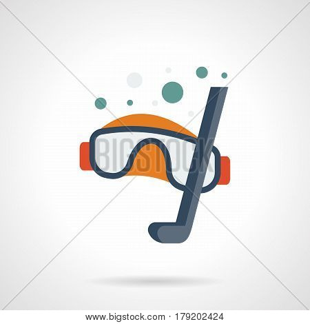 Goggles and snorkel with bubbles. Equipment and accessories for diving and snorkeling sport. Flat color style vector icon.