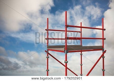 Digitally generated image of red scaffoldings against blue sky with white clouds 3d