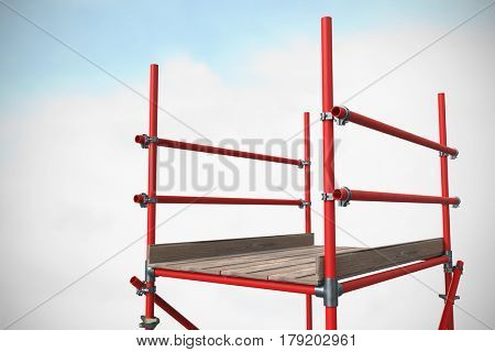 Three dimension image of red scaffolding against blue sky with clouds 3d