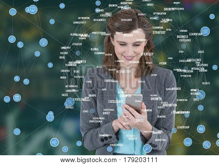 Digital composite of Woman on phone against Night city with connectors