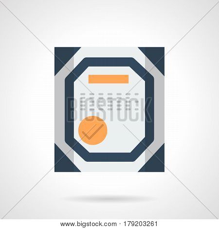 Abstract symbol of certificate. Confirmation of skill, qualification, quality control and others. Flat color style vector icon.