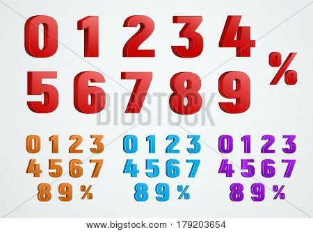 set of 3D numbers from 0 to 9 and a percentage sign. Templates of red blue and purple. Vector illustration