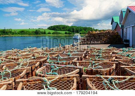 Lobster traps on a wharf in rural Prince Edward Island, Canada.