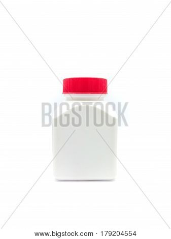 White And Red Lid Plastic Container, Isolated
