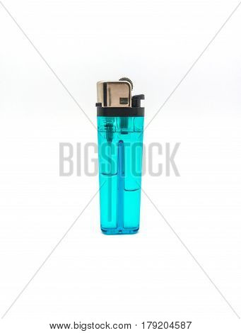 Clear Blue Gas Lighter On White Background