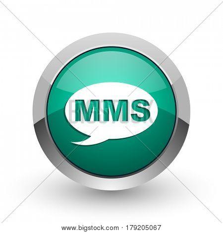 Mms silver metallic chrome web design green round internet icon with shadow on white background.