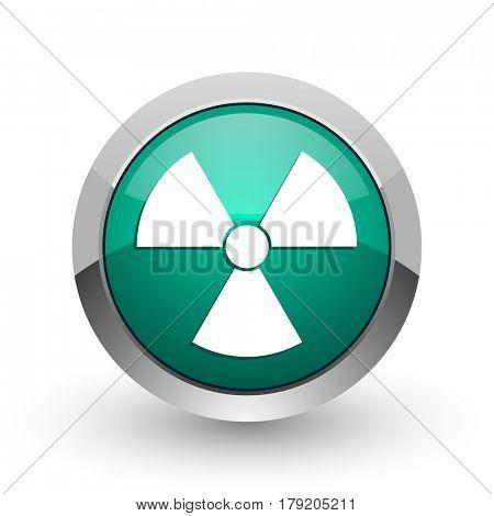 Radiation silver metallic chrome web design green round internet icon with shadow on white background.