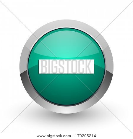 Minus silver metallic chrome web design green round internet icon with shadow on white background.