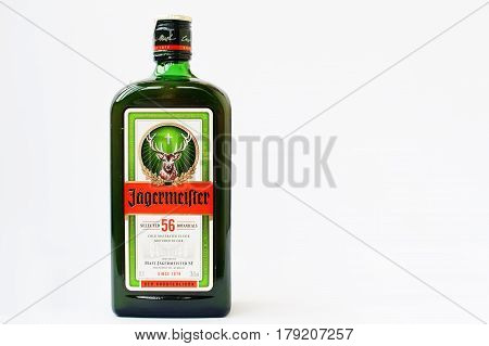 Hai, Ukraine -14 March 2017: Jagermeister German Digestif Made With 56 Herbs And Spices Isolated On