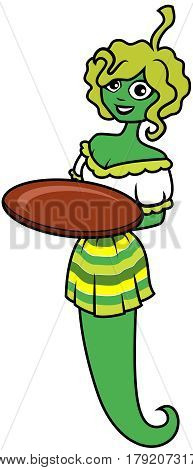 A girl holding a green pepper holds an empty tray. On a tray There is an empty space for your product.