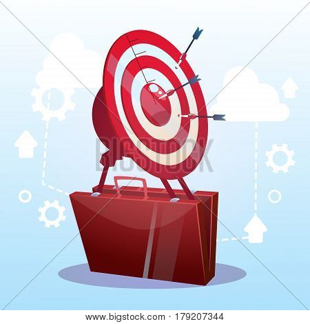 Open Briefcase Target Successful Goal Business Strategy Concept Flat Vector Illustration