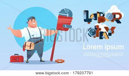 Happy Smiling Workman International Labor Day Celebration May Holiday Greeting Card Flat Vector Illustration