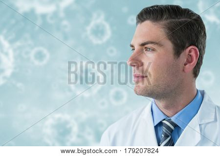Thoughtful doctor in labcoat against virus in human body 3d