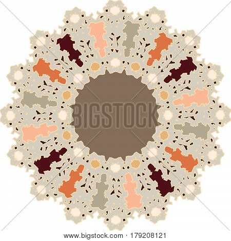 Abstract floral ornament with flat colors and a neutral inset