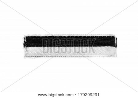 Black and white blank clothes label isolated over white