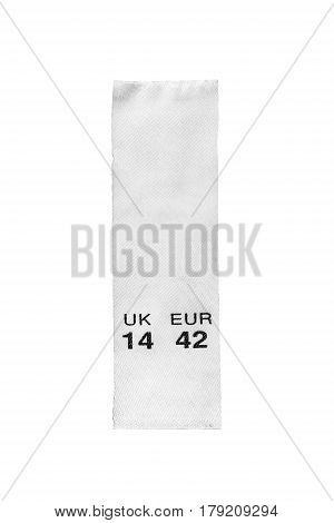 Size clothes label isolated on white background