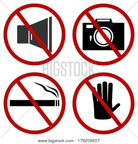 Prohibiting signs. Flat design vector illustration vector.