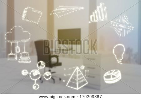 Composite image of computer icons against digital image of desktop pc at office 3d