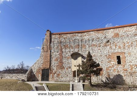 Benedictine abbey in Tyniec near Krakow fragment of the wall Poland