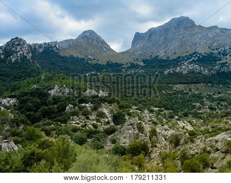Mountain landscape in the north part of the Majorca island Spain