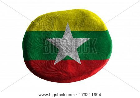 Flag of the Burma , Burma flag on clay